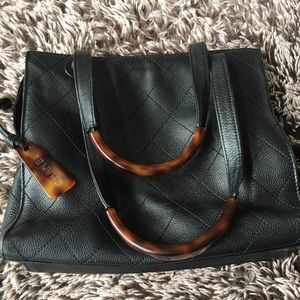 Vintage CHANEL small bag purse black leather